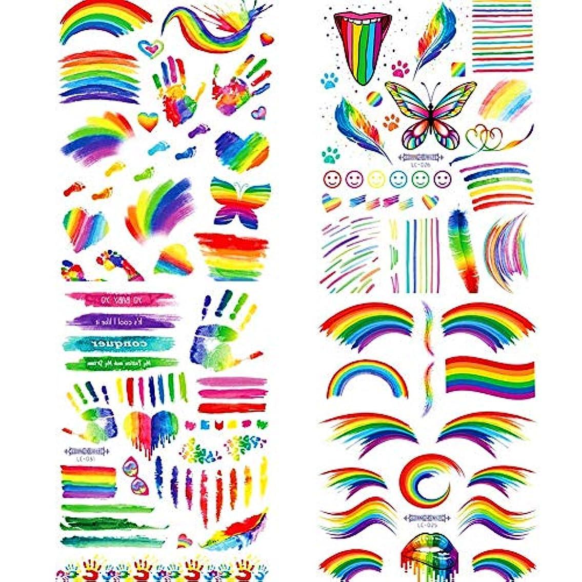 バーマドフォーカス地平線4 PCS Gay LGBTレインボー テンポラリー タトゥー 虹ステッカー ボディペイントセット ゲイプライドパレードのお祝いパーティー