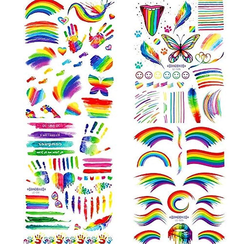 4 PCS Gay LGBTレインボー テンポラリー タトゥー 虹ステッカー ボディペイントセット ゲイプライドパレードのお祝いパーティー