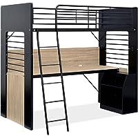 木製 ロフトベッド システムベッド 分割使用可能 RESOL(リソル) デスク付き 収納付き ハイタイプ (ブラック/ヴィンテージオーク)