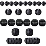 24 Pieces Cable Clips Black, Reayouth Ultra Strong Adhesive Desk Wire Management Cable Organizer Wire Holder, Multipurpose Ca