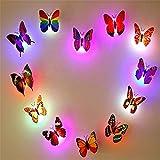 Outry 黏?式ホタルのロマンチックな魔法壁に取り付け蝶バタフライ型装飾LEDライト夜の光(12枚セット)祝日いのギフトガーデン ホームパーティー