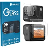 TERSELY Screen Protector for GoPro Hero 8 Black, [3 Packs,6 Pcs] 9H Hardness Tempered Glass Screen Protector Front Camera + B