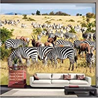Wuyyii 写真の壁紙アフリカのサバンナシマウマ現代のミニマリストのテレビ壁のソファの背景壁紙壁の壁画の壁紙-350X250Cm