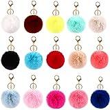 DORYUM 15 Pcs Pom Pom Fluffy Keyrings Soft Plush Charm Keyring Colorful Faux Fur Fluffy Keychain Ball For Women and Girls