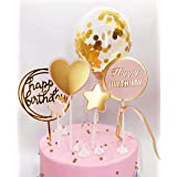 DeMissir Pack of 6,Happy Birthday Cake Toppers,A Series of 2 Layers Paper Golden Pink Bread Toppers, Acrylic Golden Cupcake T