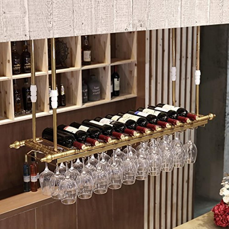 クリエイティブホームバー、ワインラックハンギングガラスホルダー、ワイングラスラック、シェルフワイングラスホルダー、ワイングラスラック、ワイングラスラック、シャンパングラスラック、ガラス器具ラック (色 : ゴールド, サイズ さいず : 120 * 30cm)