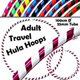 Pro Hula Hoops ( ultra-grip / Glitter Deco ) Weighted Travelフラフープ(100cm / 39' ) Hula Hoops練習、ダンス&フィットネスの。( 640g ) no必要な指示–Same day dispatch。。 ブルー