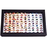(Black) - ZLY Jewellery Rings Display Tray Velvet 100 Slot Case Box Jewellery Storage Box