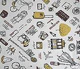 全16種 かわいい 系 柄 綿 麻 布 生地 150cm×1m・2m 手芸 裁縫 刺繍 用 コットン リネン ハンドメイド (1m, パリ・オフホワイト)