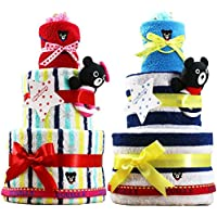 mikihouse(ミキハウス) DoubleB(ダブルビー) 使用 おむつケーキ 出産祝い 名入れ刺繍 3段 オムツケーキ 今治タオル imabari towel (パンパーステープタイプSサイズ, 男の子への贈り物)