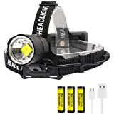 BESTSUN CREE XHP70 LED Headlamp Rechargeable, 10000 Lumen Headlamps Flashlight High Lumens Zoomable Headlight Brightest Head