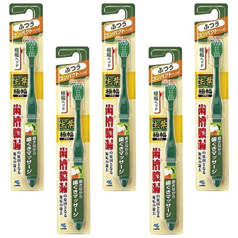 アミューズ社員抑止する【まとめ買い】生葉(しょうよう)極幅ブラシ 歯ブラシ コンパクトヘッド ふつう ×5個