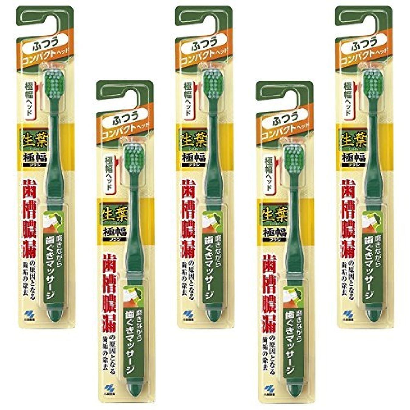 サイレント交通可愛い【まとめ買い】生葉(しょうよう)極幅ブラシ 歯ブラシ コンパクトヘッド ふつう ×5個