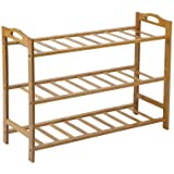 Bamboo Shoe Rack Storage Organizer Wooden Shelf Stand Shelves 3/4/5 Tiers Layers (3 Tiers)