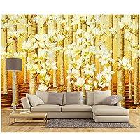Mrlwy カスタム壁紙3dゴールドカラーカラー森林油絵現代抽象美術壁リビングルームの寝室3d壁紙 - 250×175センチ