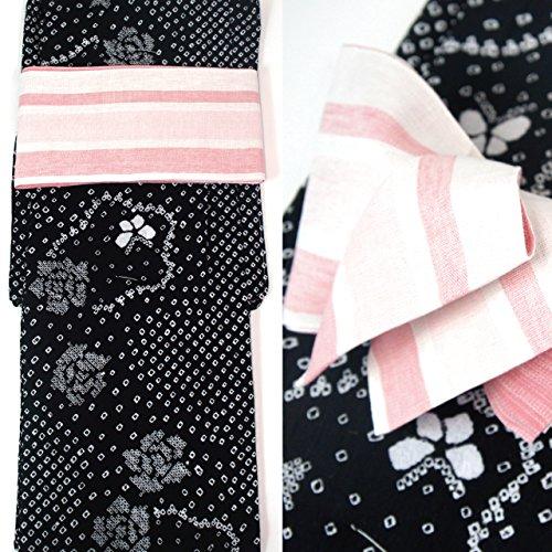 絞り浴衣セット 2点セット 本場有松絞り浴衣 フリーサイズ すぐに着られます 仕立上り商品 高級木綿 リバーシブル半巾帯 麻 ays11001