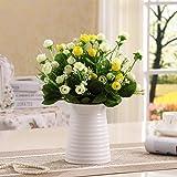 花瓶白 フラワーベース 陶器花器 おしゃれ 幅広い口作り9.5CM ダイニングテーブル 玄関 生け花 造花用かびん 北欧 インテリア Fukuka 14CM