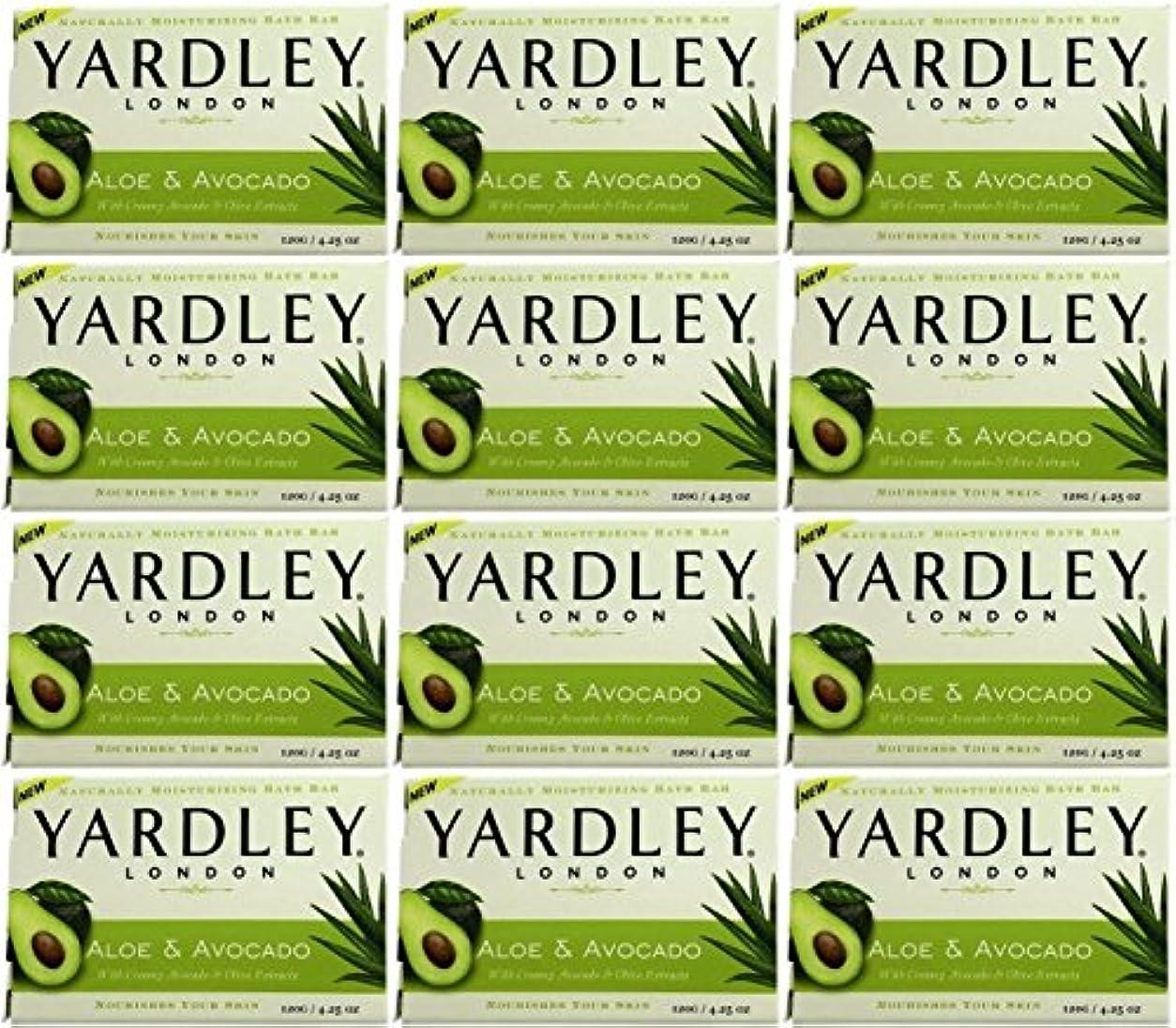 がんばり続けるぼかし直立Yardley ロンドンアロエアボカド当然のことながら保湿入浴バー4.25オズ(12パック) 12のパック ヌル