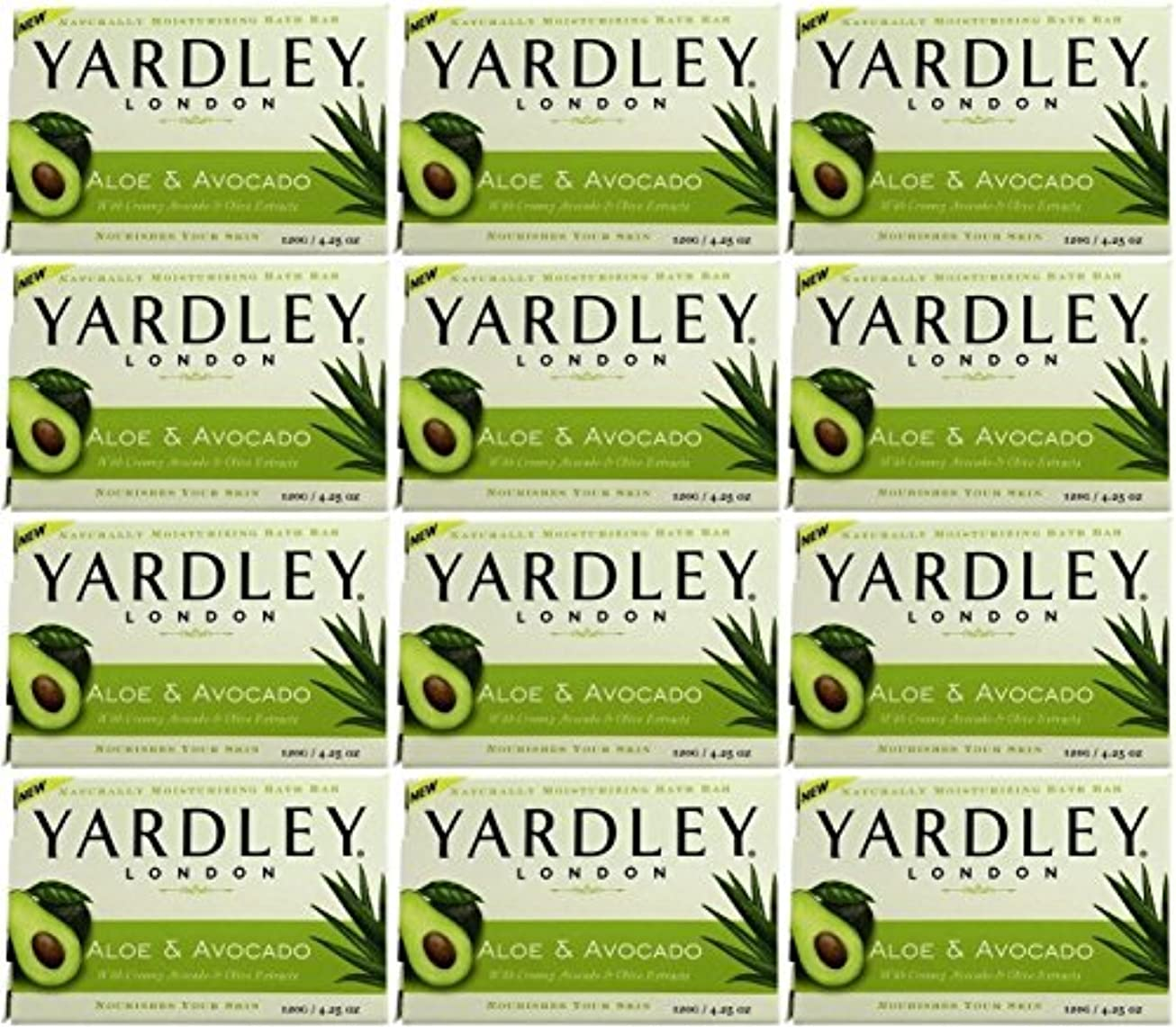 クリープモディッシュ六分儀Yardley ロンドンアロエアボカド当然のことながら保湿入浴バー4.25オズ(12パック) 12のパック ヌル