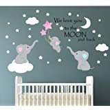 Family Elephant Wall Decal Baby Nursery Decor Kids Room Wall Stickers Large Cute Lovely Elephant Decals with Moon Stars Quote