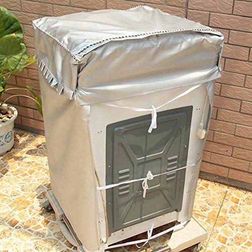 チャミ 洗濯機カバー 全自動式洗濯機 防水 防日焼け 防塵 ベルクロ開閉式 屋外 外置き シルバー (53*55*88cm)