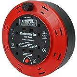 Faithfull - Cable Reel 10 metre, 10 Amp, 4 Socket - 240v