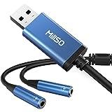 USB オーディオ変換アダプタ MillSO 2分配ケーブル イヤホンジャック 二股(USBポート- 4極 3.5mmミニジャック,×2) 延長コード イヤホン 分岐ケーブル マイク付きイヤホン/4極ヘッドセット用 外付け サウンドカード PS5,P