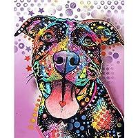 ZDDYX絵画DIYハンドペイントカラーブルドッグ動物DIYデジタル絵画デジタル現代壁アートキャンバス絵画クリスマスユニークなギフト家の装飾絵画による番号40X50Cmフレーム付き