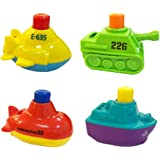 Fastspeed Bath Toys Boats for Toddlers Squirts Floating Bath Tub Boats for Boys and Girls,4 Pack