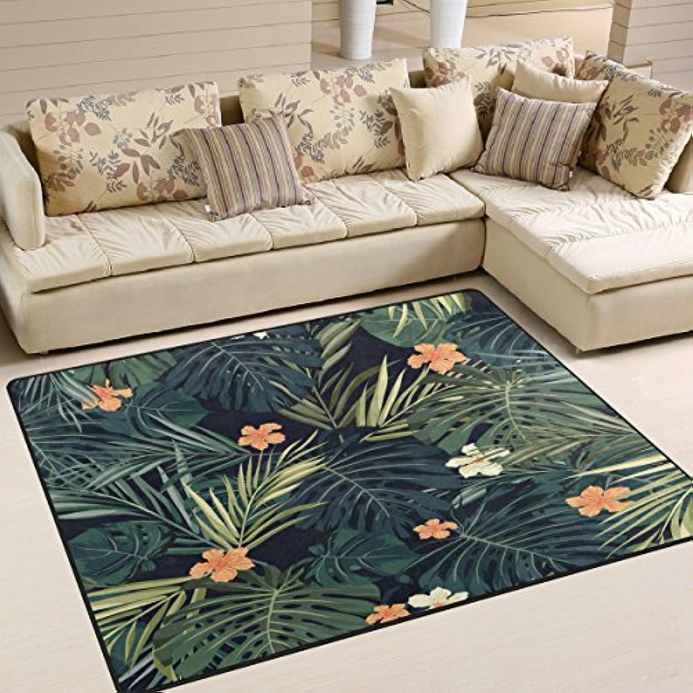 AlazaハワイアンSummer Palm Tree Leavesフラワーレトロエリアラグ絨毯マットリビングルーム寝室用 7'x5' g4069207p147c162s245