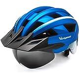 VICTGOAL Bike Helmet for Men Women Detachable Magnetic Goggles and Sun Visor Safety Bicycle Helmet Mountain Road Biking Adjus