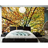 Ansyny 季節秋の木葉枝自然の壁紙、ホテルのリビングルームのソファテレビの背景寝室の壁紙-260X175CM