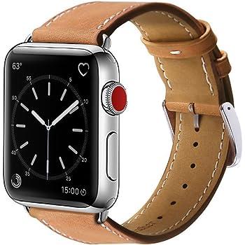 BRG コンパチブル apple watch バンド,本革 ビジネススタイル アップルウォッチバンド アップルウォッチ4 apple watch series4/3/2/1 レザー製(42mm/44mm,ブラウン)