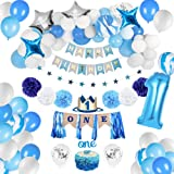 JOYYPOP 1st Birthday Boy Decorations - Baby Boy 1st birthday Party supplies blue decorations 67PCS with 1st Birthday Baby Cro