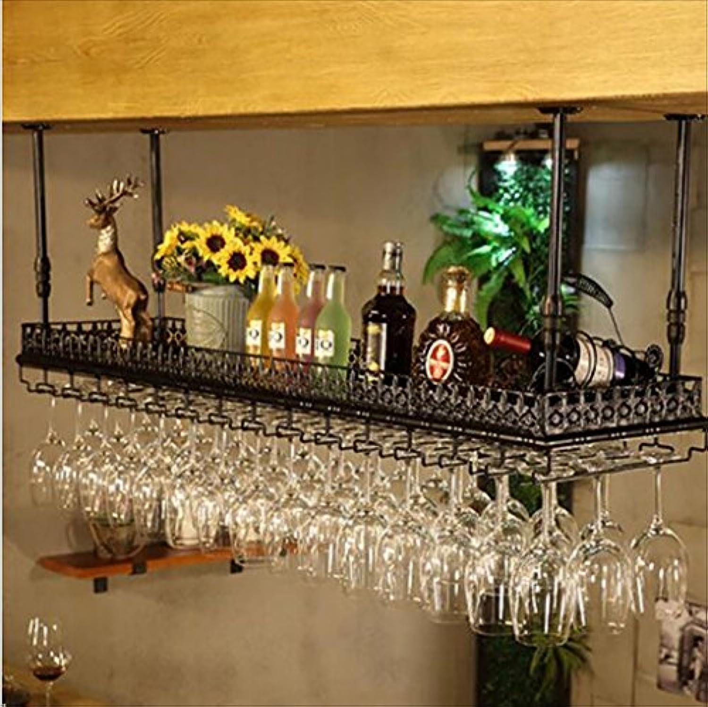 バーサスペンションバーカウンターワインラックレストラン家庭用ワイングラス倒立ラックレトロアイアンワインラック (サイズ さいず : 100 * 35cm)