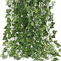 フェイクグリーン HIMETSUYA 観葉植物 アイビー 造花 インテリア 藤 壁掛け 人工観葉植物 グリーン 飾り (12本入れ)