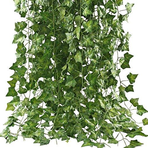 フェイクグリーン HIMETSUYA 観葉植物 アイビー 造花 インテリア 藤 壁掛け 人工観葉植物 グリーン 飾り 12本入り