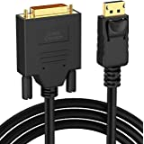 CableCreation Gold Plated 6ft DisplayPort to DVI Cable, Standard DP to DVI Male Cable with Built in IC Chipset, Black Color