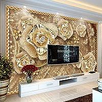 Bzbhart テレビの背景装飾画、壁用ステッカーカスタム写真の壁紙3D高級ジュエリーの花の壁画リビングルームのテレビソファの背景の壁の布環境に優しい-200cmx140cm