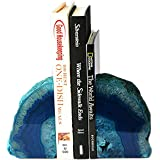 AMOYSTONE Bookends Agate Decorative Book Ends Stone for Shelves Dyed Teal with Rubber Bumpers(1 Pair, 3-4 LBS)