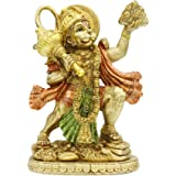 Hindu God Lord Flying-Hanuman Statue - India Idol Murti Pooja Sculpture - Indian Gold Finish Figurine for Home Temple Mandir