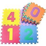 Baiye キッズパズルマット 10枚組 ジョイントマット 厚め マット フルーツ 数字 ジョイント式マット カラーマット プレイマット 子供部屋 (数字柄)