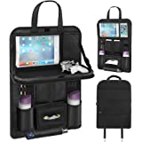 Back Seat Car Organizer, Car Organizer for Kids Toy Bottles Storage Foldable Dining Table Clear Tablet Holder Family Road Tri