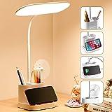 60 LED Desk Lamp for Home Office with USB Charging Port,Pen Holder,Gooseneck Adjustable Desk Lamp 3 Color Temperatures Steple