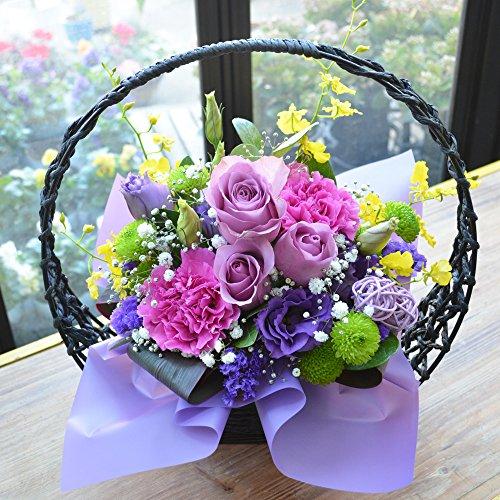 [エルフルール]生花 フラワーギフト 和風アレンジメント 紫月(さいげつ) 喜寿 古希 還暦 祝い 誕生日 プレゼント アレンジフラワー 敬老の日 ギフト 花 母の日