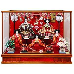 吉徳 雛人形 ケース入り五人飾り 間口63×奥行38×高さ47cm ガラスケース 322280