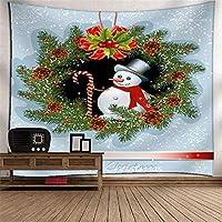 クリスマスの雪だるまタペストリー壁掛け壁画の壁の壁の3Dデジタル印刷ポリエステルアート壁の装飾家の吊り布のベッドルームリビングルームのタペストリー壁のマウントピクニックブランケット (Color : 022)