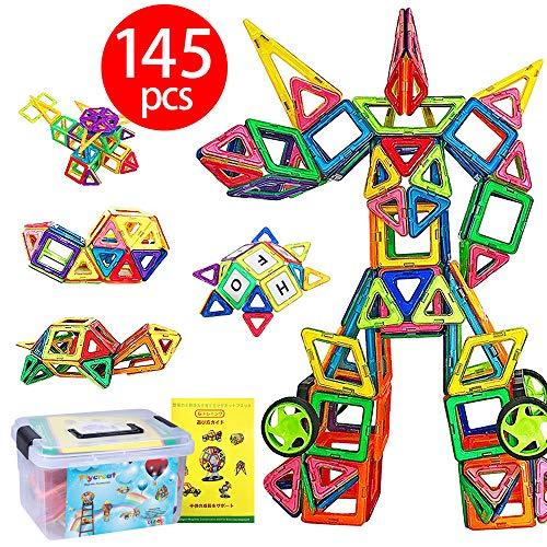 磁石ブロック マグネット3d立体パズル 145ピース(磁気ブロック99個 他の車輪・パネルパーツ46個) FlyCreat ...