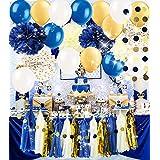 Navy Gold Bridal Shower Decorations Tissue Pom Pom Latex Ballons Tassel Garland Polka Dot Tissue Poms for Baby Shower Decorations/Navy Gold Royal Pince Party/Boy First Birthday/Wedding Decorations