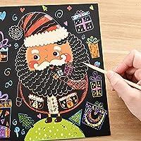 Greensun TM 6シート/セットカラフルなクリスマスタイプScraping Painting Paper Toy DIY漫画雪だるまXmasツリーScratch図面用紙Toy